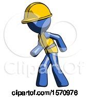 Blue Construction Worker Contractor Man Suspense Action Pose Facing Left