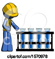 Blue Construction Worker Contractor Man Using Test Tubes Or Vials On Rack