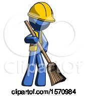 Blue Construction Worker Contractor Man Sweeping Area With Broom