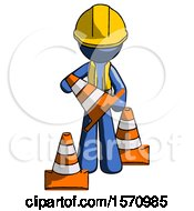 Blue Construction Worker Contractor Man Holding A Traffic Cone