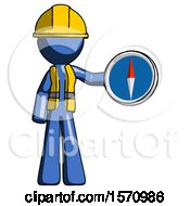 Blue Construction Worker Contractor Man Holding A Large Compass