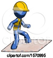 Blue Construction Worker Contractor Man On Postage Envelope Surfing