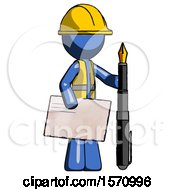 Blue Construction Worker Contractor Man Holding Large Envelope And Calligraphy Pen