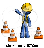 Blue Construction Worker Contractor Man Standing By Traffic Cones Waving