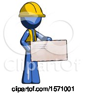 Blue Construction Worker Contractor Man Presenting Large Envelope