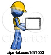 Blue Construction Worker Contractor Man Show Tablet Device Computer To Viewer Blank Area