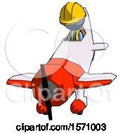 Blue Construction Worker Contractor Man In Geebee Stunt Plane Descending Front Angle View