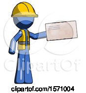 Blue Construction Worker Contractor Man Holding Large Envelope