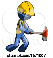 Blue Construction Worker Contractor Man With Ax Hitting Striking Or Chopping