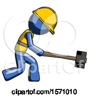 Blue Construction Worker Contractor Man Hitting With Sledgehammer Or Smashing Something