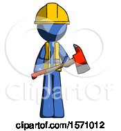 Blue Construction Worker Contractor Man Holding Red Fire Fighters Ax