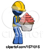 Blue Construction Worker Contractor Man Holding Large Cupcake Ready To Eat Or Serve