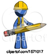 Blue Construction Worker Contractor Man Writer Or Blogger Holding Large Pencil