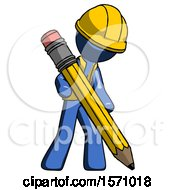 Blue Construction Worker Contractor Man Writing With Large Pencil