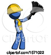 Blue Construction Worker Contractor Man Dusting With Feather Duster Upwards