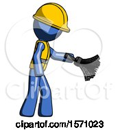 Blue Construction Worker Contractor Man Dusting With Feather Duster Downwards