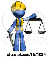 Blue Construction Worker Contractor Man Justice Concept With Scales And Sword Justicia Derived