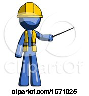 Blue Construction Worker Contractor Man Teacher Or Conductor With Stick Or Baton Directing