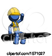 Blue Construction Worker Contractor Man Riding A Pen Like A Giant Rocket