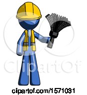 Blue Construction Worker Contractor Man Holding Feather Duster Facing Forward