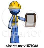 Blue Construction Worker Contractor Man Showing Clipboard To Viewer