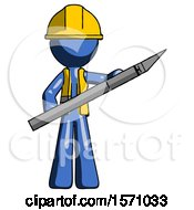 Blue Construction Worker Contractor Man Holding Large Scalpel