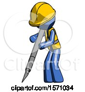 Blue Construction Worker Contractor Man Cutting With Large Scalpel