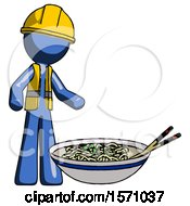 Blue Construction Worker Contractor Man And Noodle Bowl Giant Soup Restaraunt Concept