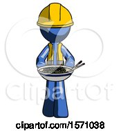 Blue Construction Worker Contractor Man Serving Or Presenting Noodles