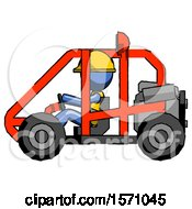 Blue Construction Worker Contractor Man Riding Sports Buggy Side View