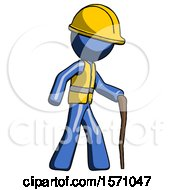 Blue Construction Worker Contractor Man Walking With Hiking Stick