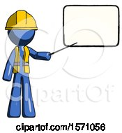 Blue Construction Worker Contractor Man Giving Presentation In Front Of Dry Erase Board
