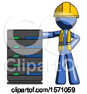 Blue Construction Worker Contractor Man With Server Rack Leaning Confidently Against It