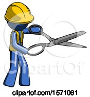 Blue Construction Worker Contractor Man Holding Giant Scissors Cutting Out Something