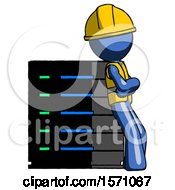 Blue Construction Worker Contractor Man Resting Against Server Rack Viewed At Angle