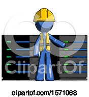 Blue Construction Worker Contractor Man With Server Racks In Front Of Two Networked Systems