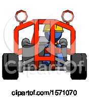 Blue Construction Worker Contractor Man Riding Sports Buggy Front View