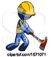 Blue Construction Worker Contractor Man Striking With A Red Firefighters Ax