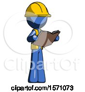 Poster, Art Print Of Blue Construction Worker Contractor Man Reading Book While Standing Up Facing Away