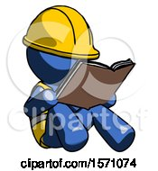 Poster, Art Print Of Blue Construction Worker Contractor Man Reading Book While Sitting Down