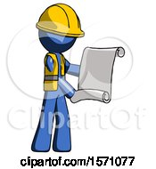 Blue Construction Worker Contractor Man Holding Blueprints Or Scroll