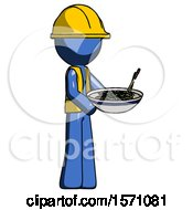 Blue Construction Worker Contractor Man Holding Noodles Offering To Viewer
