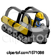 Blue Construction Worker Contractor Man Driving Amphibious Tracked Vehicle Top Angle View