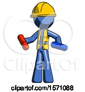 Blue Construction Worker Contractor Man Red Pill Or Blue Pill Concept
