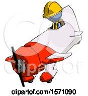 Blue Construction Worker Contractor Man In Geebee Stunt Plane Descending View