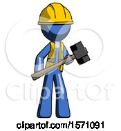 Blue Construction Worker Contractor Man With Sledgehammer Standing Ready To Work Or Defend