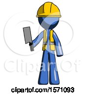 Blue Construction Worker Contractor Man Holding Meat Cleaver