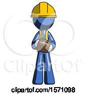 Blue Construction Worker Contractor Man Giving Football To You