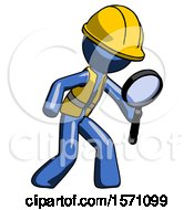 Blue Construction Worker Contractor Man Inspecting With Large Magnifying Glass Right