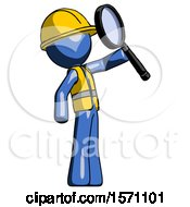 Blue Construction Worker Contractor Man Inspecting With Large Magnifying Glass Facing Up
